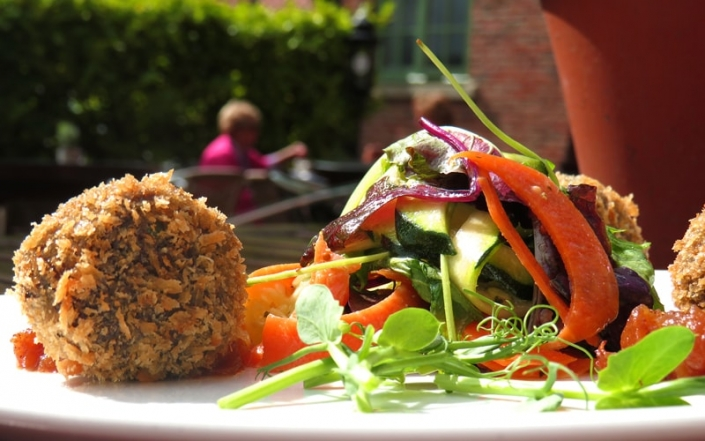 Food at The Oak Tree Inn Helperby - Falafel balls with salad
